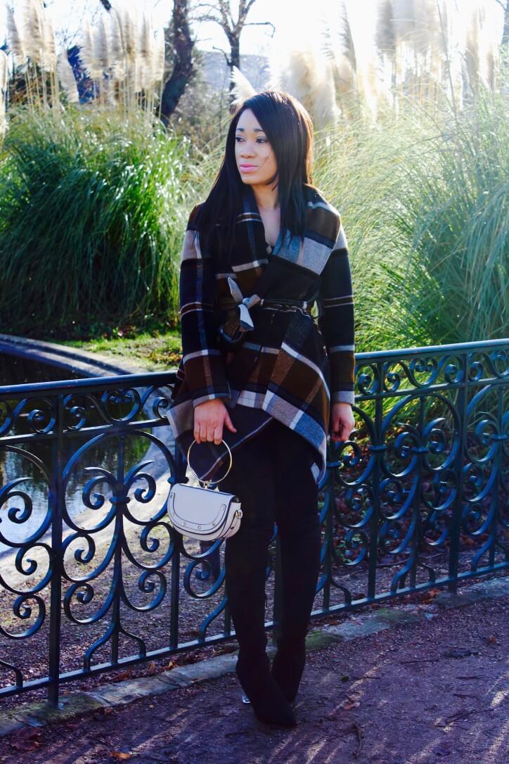 Look hiver manteau à carreaux