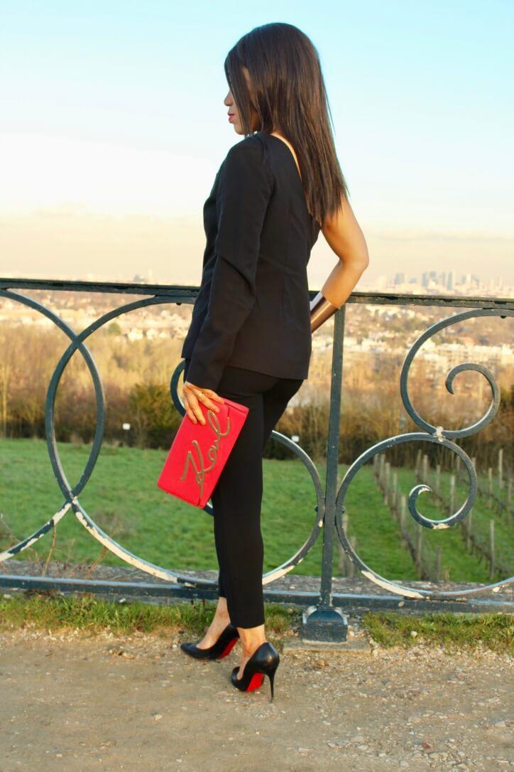 blazer noir asymétrique