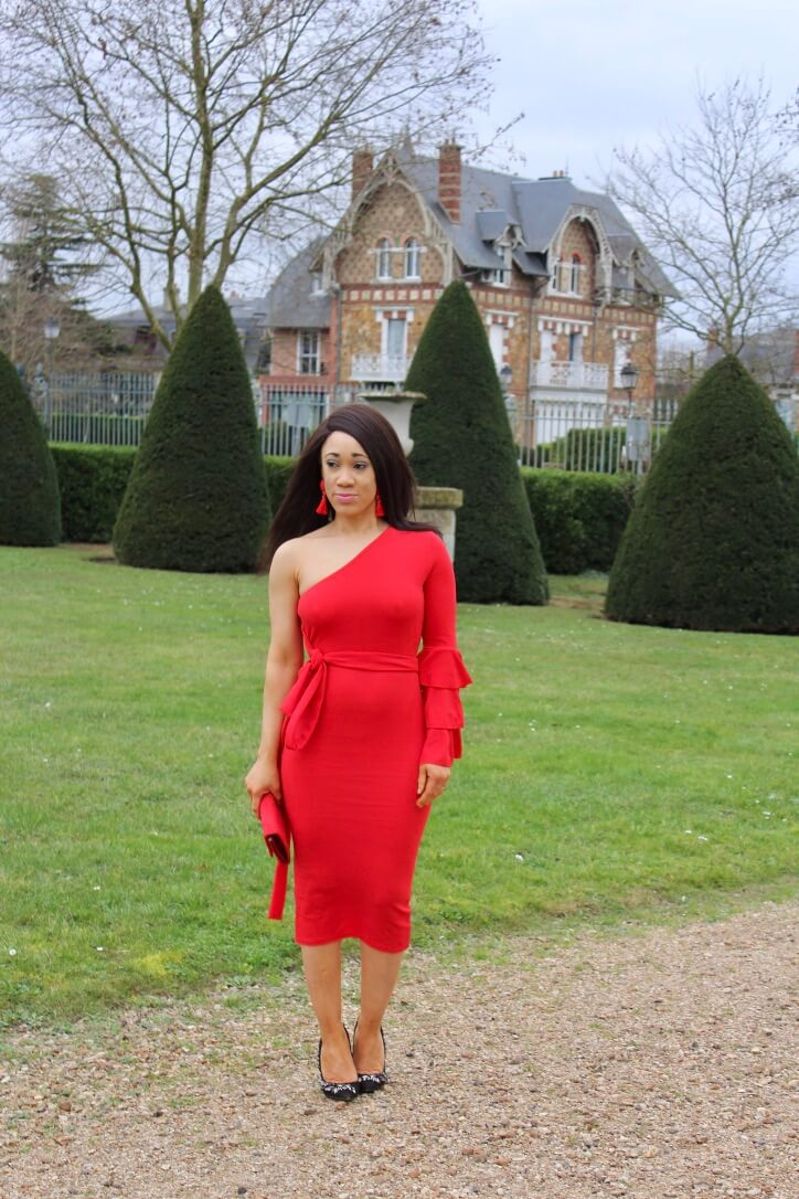robe rouge boohoo