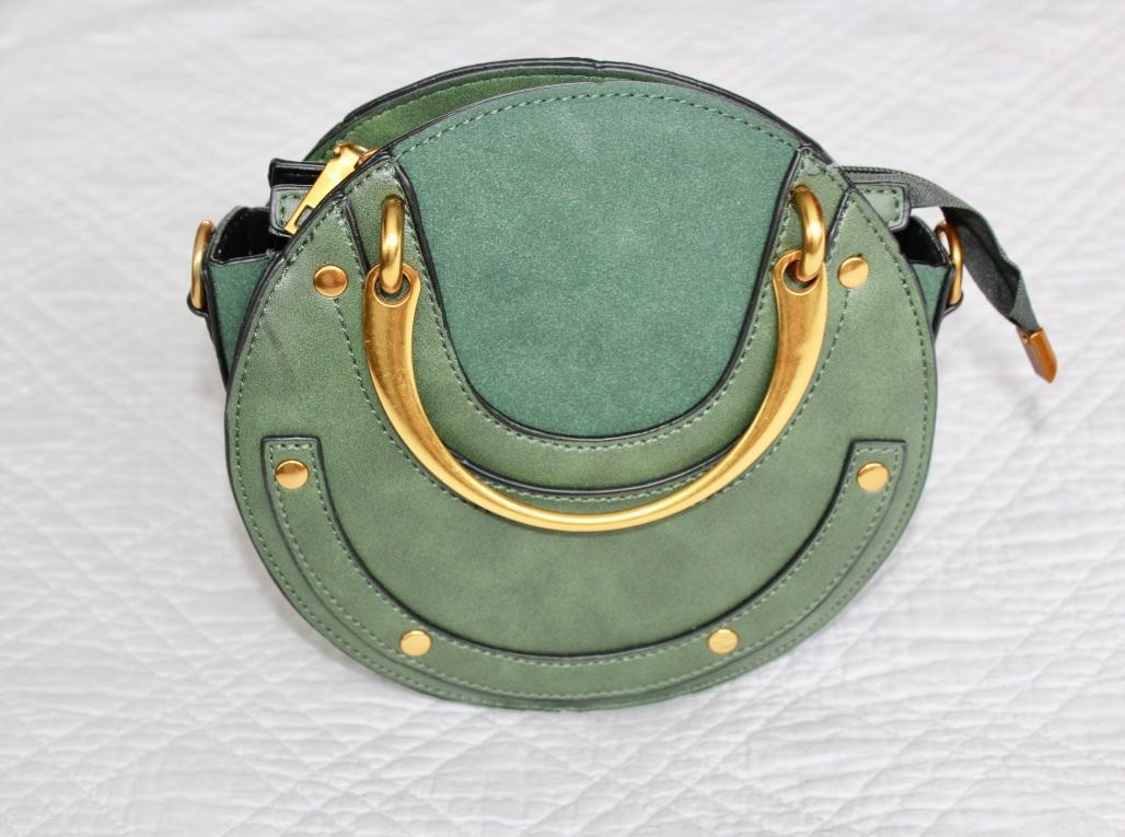 sac vert rond anse dorée